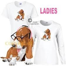 Details About Puppies Rule Smart Basset Hound Dog 1 Pink Headphones Series Ladies T Shirt