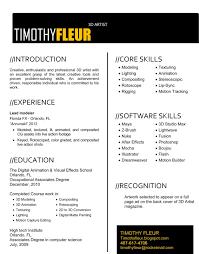 Timothy Fleur 3d Artist Resume Resume Portfolio Ideas