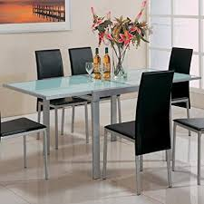 Frosted glass dinning table White Image Unavailable Image Not Available For Color Sunrise Frostedglass Dining Table Amazoncom Amazoncom Sunrise Frostedglass Dining Table With Metal Extensions