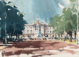 regent street london watercolour buckingham palace watercolour