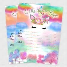Unicorn Birthday Rainbow Invitations Baby Shower Girl Baby Shower