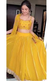 Lehenga Design In Yellow Colour Youdesign Divya Khosla Kumar Crepe Lehenga Choli Yellow Colour