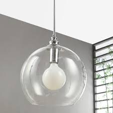 uptown clear globe 1 light chrome pendant free today com 15440038
