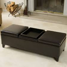 coffee table leather ottoman coffee table with shelf tray storage large round foot tufted padded stools brown small glass fabric