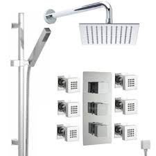 get ations hudson reed thermostatic shower system with triple divertor valve 8 square rainfall head