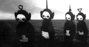 teletubbies in black white look like a horror show