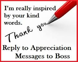 Thank You Message To Boss Appreciation Messages And Letters Reply To Appreciation
