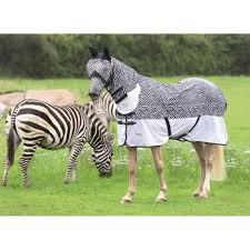shires tempest zebra combo fly rug black white all sizes