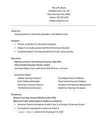 Example Teaching Resumes Objective For Teaching Resume Wikirian Com