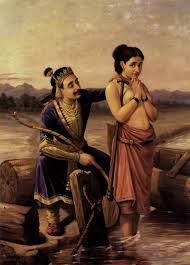 shantanoo and matsyagandha painting by artist raja ravi varma reion oil canvas