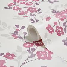 Colours Clara Soft Plum Floral Mica Wallpaper   Departments   DIY at B&Q