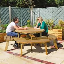 round wood picnic table design