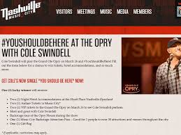 youshouldbehere at the opry with cole swindell giveaway sweepstakes