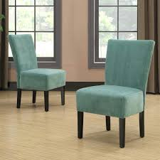 portfolio duet turquoise blue velvet upholstered chair set of 2 armless chairs small