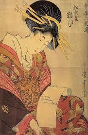 kitagawa utamaro hairdressing. reading geisha by kitagawa utamaro, color woodcut, circa 1800 : utamaro hairdressing