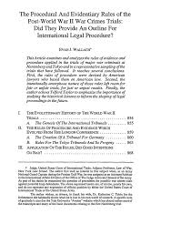 the procedural and evidentiary rules of the post world war ii what is heinonline