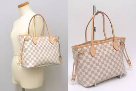 louis vuitton neverfull white. authentic louis vuitton neverfull pm damier azur canvas tote hand bag white lv i