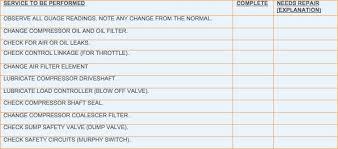 check list example pm checklist example compressors fleetanswers com