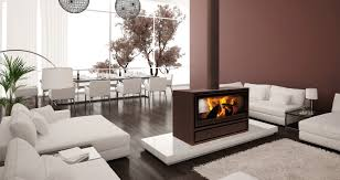 jide double sided wood burning stove for open plan rooms