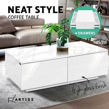 modern coffee table 4 storage drawers