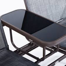 P Outsunny 2 Seater Patio Glider Rocking Chair Metal Swing Bench Furniture  Table