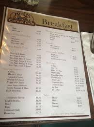 Breakfast Menu Picture Of Keeps Corner Cafe Bakery Rangeley