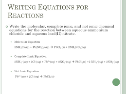 writing equations for reactions