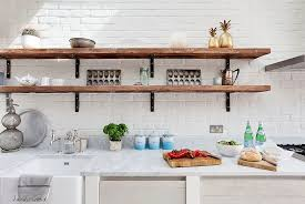 rustic white kitchens. Rustic White Kitchen With Slim And Open Shelves Design Ideas Kitchens