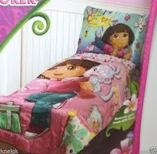 dora the explorer crib bedding 4 piece satin toddler set designs full size