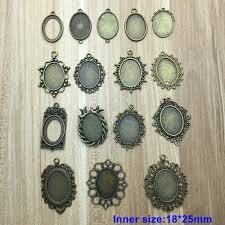 dropwow tenacity peiao 10pcs fit 18 25mm charm pendants oval antique bronze plated cameo cabochon base setting pendant tray diy jewelry