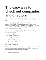 Free Company Report The Easy Way To Check Out Companies And Directors Reports