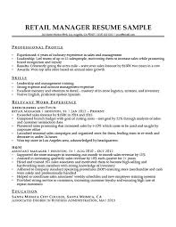 Logistics Associate Sample Resume Simple Retail Manager Resume Sample Writing Tips Resume Companion