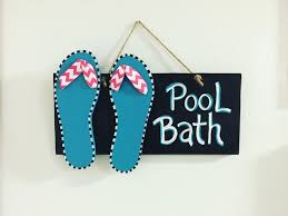 Flip Flop Bathroom Decor Pool Bathroom Sign Flip Flops Summer Decor Pool