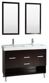 48 modern vanity bathroom furniture double sink cabinet glass top