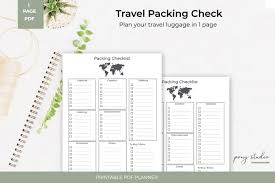 Vacation Packing Checklist Pdf Travel Packing List Template A4 Pdf Printable