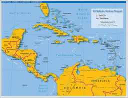political map of central america and the caribbean  nations