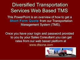 Quick Quote Magnificent Diversified Transportation Services TMS Quick Quote Tutorial