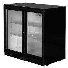 under counter glass fronted double door fridge