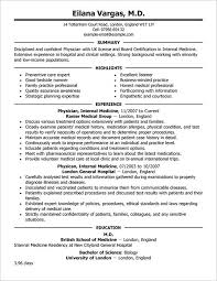 Resume For Doctors Resume Sample