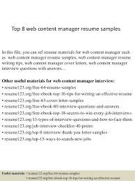 Top 8 web content manager resume samples In this file, you can ref resume  materials ...
