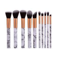 10pcs white marble makeup cosmetic powder foundation eyeshadow lip brush set