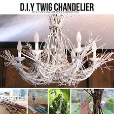 twigs and a thrift chandelier