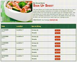 food sign up sheet organizing a meal sign up for a family in need