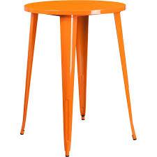 orange metal 30 inch round indoor outdoor cafe bar table
