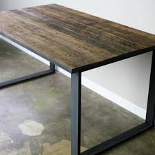 modern dining table desk reclaimed wood top steel base distressed style office desk