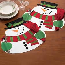 household dining table set christmas snowman knife: christmas xmas snowman double layer table decor napkin placemat mat cutlery holder dining tools kitchenware