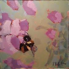 sweet peas and ble bees original art for
