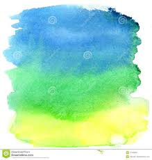 Yellow Blue Green Yellow Green And Blue Watercolor Brush Strokes Stock Photo