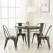 vintage metal dining chairs.  Chairs Modern Vintage Metal Stackable Dining Chairs With Backs Set Of 4 Tolix  Kitchen Chair Intended E