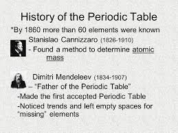 Chapter 5 The Periodic Table. History of the Periodic Table *By ...